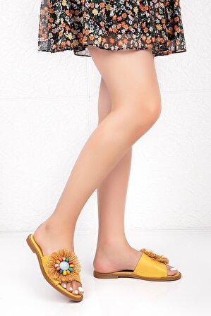 Bellacomfort Shoes Kadın Sarı Hakiki Deri Papatya Terlik