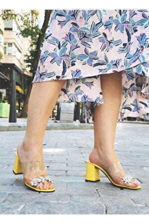 Nemesis Shoes Kadın Sarı Topuklu Terlik