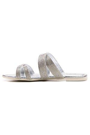 Ataköy Ayakkabı Kadın Deri Lame Taşlı Terlik