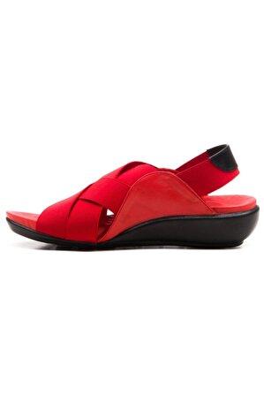 Ataköy Ayakkabı Kadın Deri Kırmızı Comfort Sandalet
