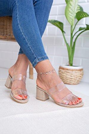 Moda Değirmeni Hasır Şeffaf Kadın Topuklu Terlik Md1041-122-0001