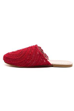 Ataköy Ayakkabı Kadın Pu Kırmızı Örgü Terlik