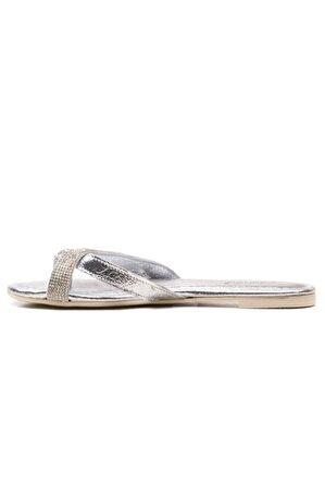 Ataköy Ayakkabı Kadın Deri Lame Taşlı Parmak Arası Terlik