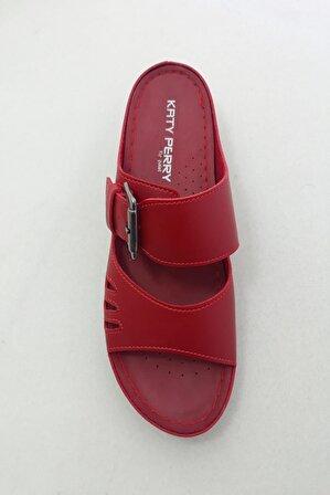 PALET SHOESTORE Kadın Kırmızı Topuklu Terlik
