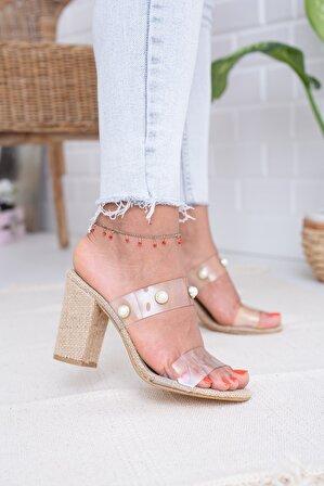 Moda Değirmeni Hasır Şeffaf Boncuklu Kadın Topuklu Terlik Md1041-122-0002