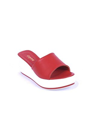 Ustalar Ayakkabı Çanta Kadın Kırmızı Dolgu Topuklu Terlik 542.2023