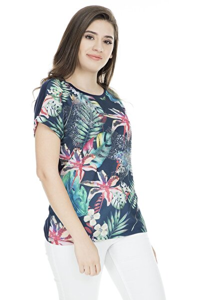 Fashion Friends Kadın Lacivert T-Shirt - 9Y1779