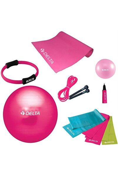 Delta 75 cm Top 10 mm Minder Fuşya Pilates Seti - UNC