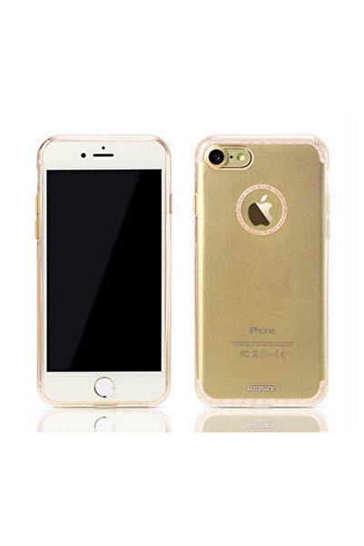 Remax Sunshine iPhone 7 Şeffaf Gold Silikon Kılıf
