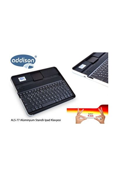 ADDISON Addison Als-77 Siyah Bluetooth Tablet Pc + İpad Alüminyum Q Multimedia Kablosuz Klavye