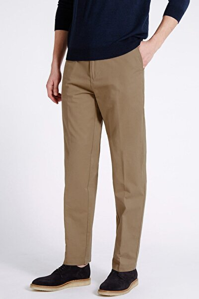 Marks & Spencer Erkek Bej Regular Fit Chino Pantolon (Stormwear™ Teknolojisi ile) T17006332M