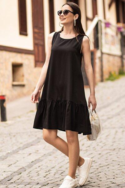 armonika Kadın Siyah Kolsuz Eteği Fırfırlı Elbise ARM-18Y001156