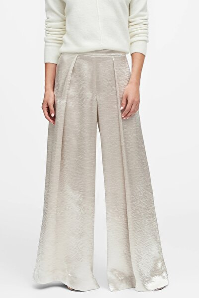 Banana Republic Kadın Bej High-Rise Wide-Leg Saten Pantolon 518185