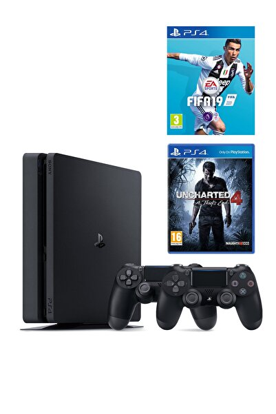 Sony Playstation 4 Slim 500 GB + 2. PS4 Kol + PS4 Fifa 19 + PS4 Uncharted 4
