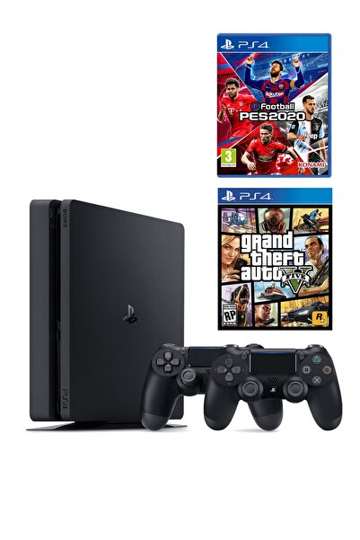 Sony Playstation 4 Slim 500 GB + 2. PS4 Kol + PS4 Pes 2020 + PS4 GTA 5