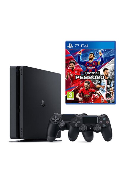 Sony Playstation 4 Slim 500 GB + 2. PS4 Kol + PS4 Pes 2020