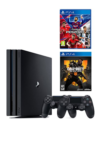 Sony Playstation 4 Pro 1 TB + 2. PS4 Kol + PS4 Pes 2020 + PS4 COD Black Ops 4