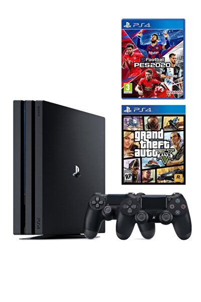 Sony Playstation 4 Pro 1 TB + 2. PS4 Kol + PS4 Pes 2020 + PS4 GTA 5
