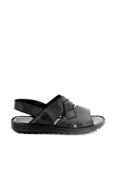 Hobby Hakiki Deri Siyah Erkek Sandalet