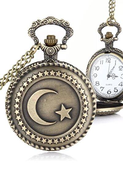Yazole Köstekli Türk Bayrağı Cep Saati