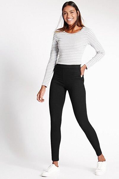Marks & Spencer Kadın Siyah Pamuklu Jean Tayt Pantolon T57008604