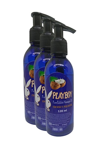 Playboy Pure Edible Massage Oil 120 ml Hindistancevizi Aromalı Masaj Yağı 3 Adet