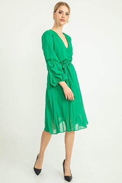 Foremia Kadın Yeşil Şifon Elbise Kolu Tiktaklı 19Y0104701
