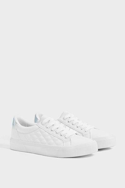Bershka Kadın Beyaz Kapitone Sneaker 11402560