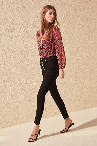 Siyah Önden Düğmeli Yüksek Bel Skinny Jeans TWOAW20JE0051