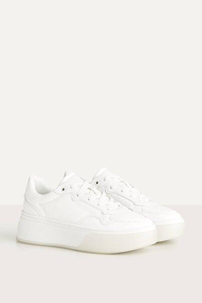 Kadın Beyaz Yarı Şeffaf Tabanlı, Platform Spor Ayakkabı 11409560