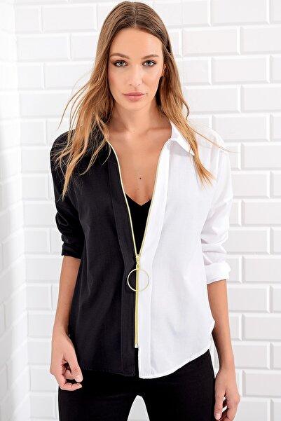 Kadın Siyah-Beyaz Bloklu Gömlek ALC-5490