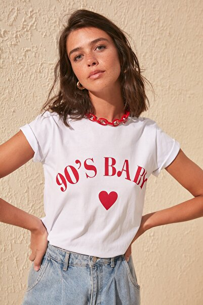 Ekru Baskılı Basic Örme T-shirt TWOSS19VG0155