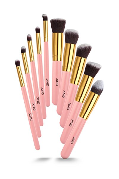 GNX 10'lu Fırça Seti - 10 Pcs Brush Set Pembe 8682442260970