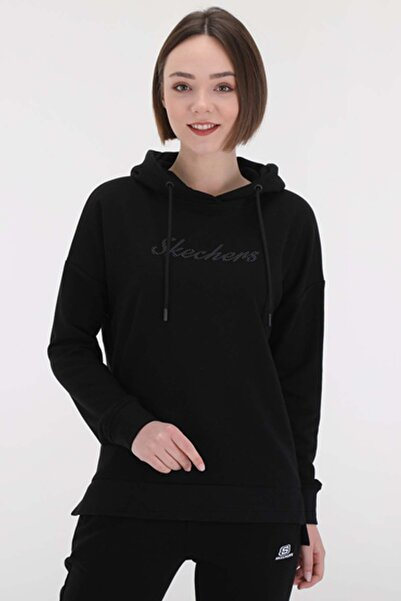 SKECHERS Lightweight Fleece W Low Sleeve Long Fit Hoodie Sweatshirt Kadın Sweatshirt S201035 001
