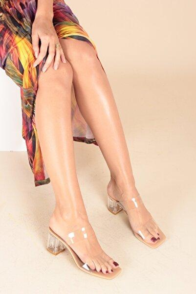 İnan Ayakkabı Kadın Şeffaf Bant Ve Topuk Detay Topuklu Ayakkabı