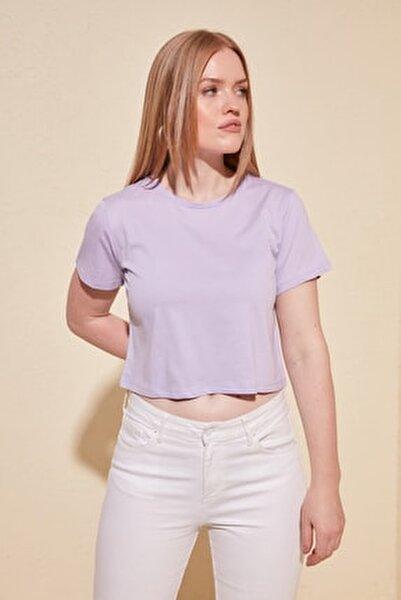 Lila %100 Pamuk Bisiklet Yaka Crop Örme T-Shirt TWOSS20TS0135