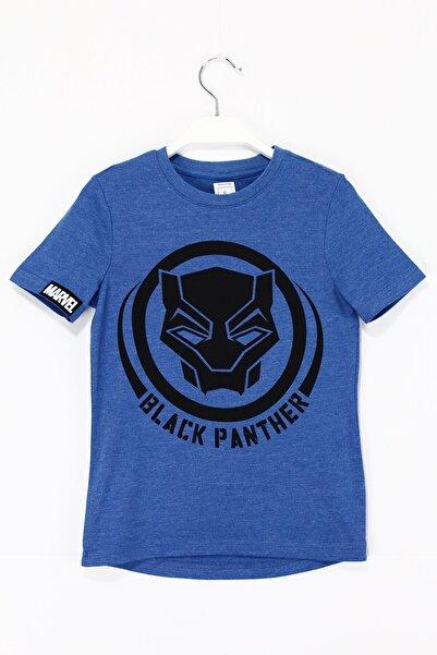 MARVEL Erkek Çocuk Black Panther Baskılı T-shirt 5 - 13 Yaş Aralığı Mavi