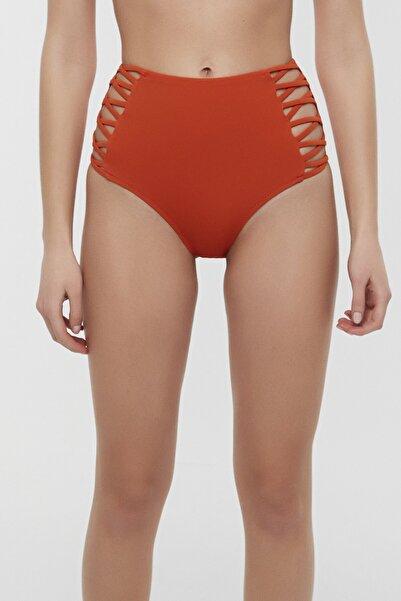 Kadın Turuncu Basic Yüksek Bel Fashion Bikini Altı