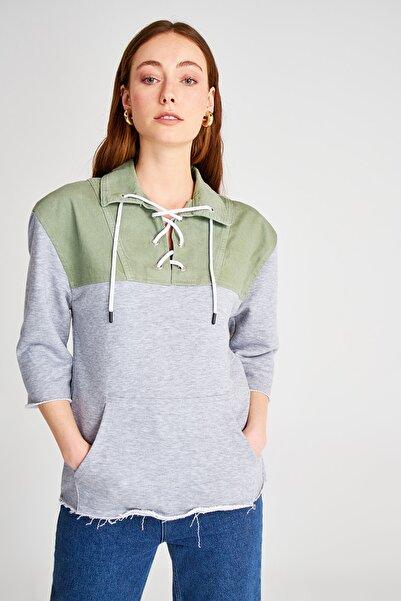 Haki Örme Kumaşlı Denim Sweatshirt TWOSS20GO0383