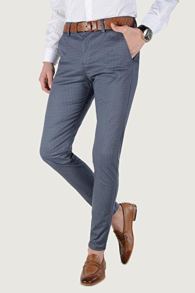 Terapi Men Erkek Çizgi Desenli Keten Pantolon 20K-2200257 Mavi