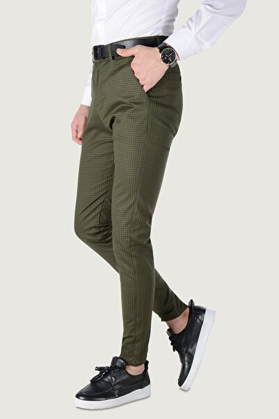 Terapi Men Erkek Kare Desenli Slim Fit Keten Pantolon 20K-2200236 Haki