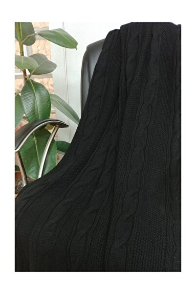 Ocean Siyah Saç Örgü Triko Koltuk Battaniyesi