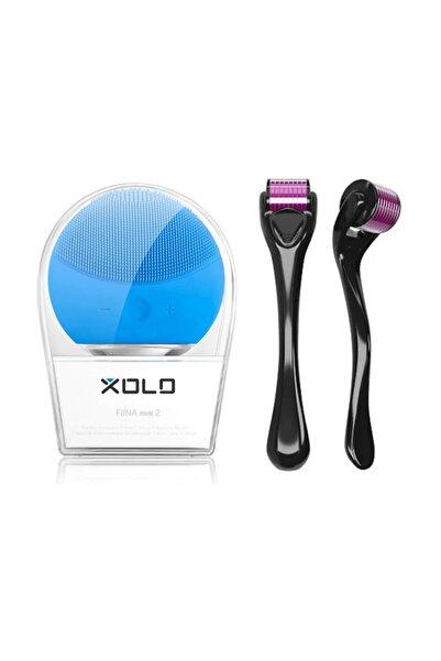 xolo Dermaroller 1,5 mm 540 Iğneli Saç Çıkarma Aleti + Şarj Edilebilir Mavi Yüz Temizleme Cihazı