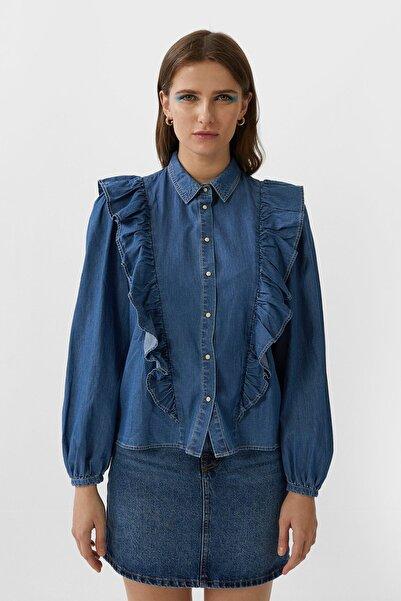 Stradivarius Kadın Koyu Mavi Fırfırlı Denim Bluz 02188580