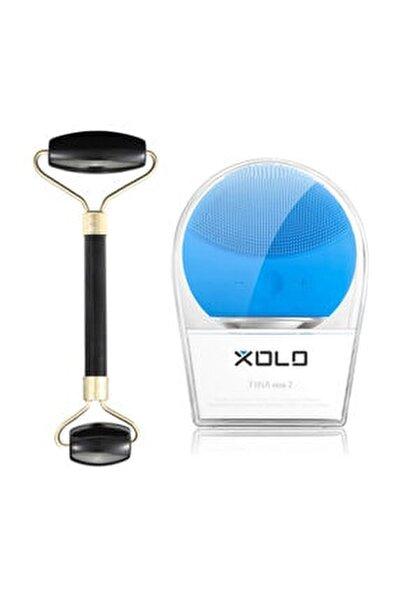 Şarj Edilebilir Mavi Yüz Temizleme Cihazı + Jade Roller Siyah 2'li Yeşim Taşı Masaj Aleti