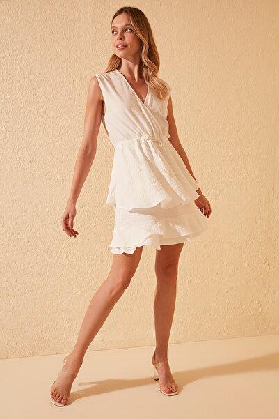 Ekru Fırfır Detaylı Elbise TWOSS20EL2227