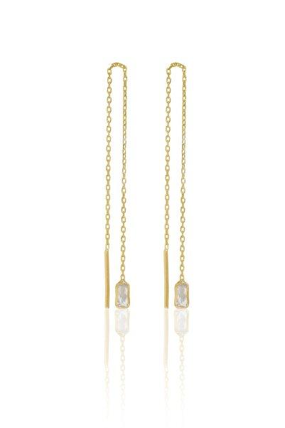 İzla Design Kadın Baget Taşlı Sallantılı Altın Kaplama Gümüş İtalyan Küpe PKT-TLYSLVR0741