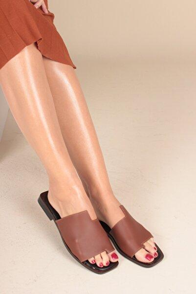 İnan Ayakkabı Taba Cilt Kadın Sandalet INA1616
