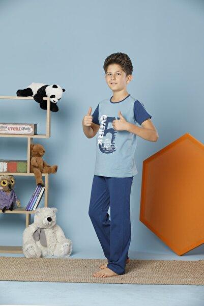 Erkek Çocuk Mavi Kısa Kollu Pamuklu Likralı Pijama Takım