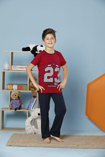 Erkek Çocuk Lacivert Kısa Kollu Pamuklu Likralı Pijama Takım